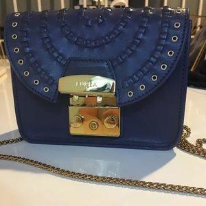 Furla mini crossbody purse navy blue